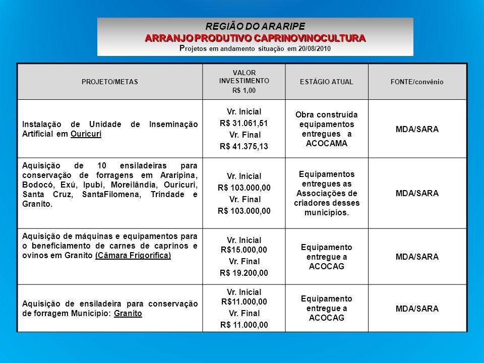 PROJETO/METAS VALOR INVESTIMENTO R$ 1,00 ESTÁGIO ATUALFONTE/convênio Aquisição de Kit de inseminação artificial de caprinos e ovinos Município: Ouricuri Vr.