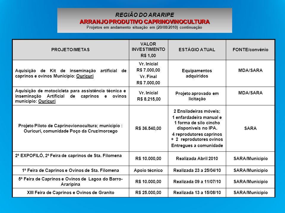 PROJETO/METAS VALOR INVESTIMEN TO R$ 1,00 ESTÁGIO ATUALFONTE/convênio Implantação do Programa de Inseminação Artificial de Bovinos com Sêmen de Touro da Raça Holandesa (Origem : Galícia-Espanha) municípios: Santa Cruz e Bodocó R$ 39.600,00 Distribuídas: 900 doses de sêmen SARA/ Genética Gallega-Espanha Projeto Balde Cheio Município: Bodocó - 15 produtores assistidos, 2 UDs implantadas, sendo uma de 4.500m 2 de pastejo rotacionado com capim mombaça irrigado, implantação de áreas com palma resistente a cochonilha do carmim Prefeitura/BNB/SARA e Pecuária Intensiva Consultoria e Treinamento Ltda Defesa Sanitária Animal e Fiscalização- Orientação de produtores de 20 estabelecimentos para construção de queijarias e usinas de beneficiamento de leite de acordo com N.