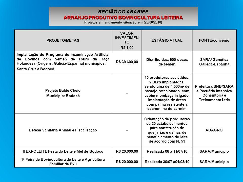 PROJETO/METAS VALOR INVESTIMENTO R$ 1,00 ESTÁGIO ATUALFONTES Instalação de Banco de Germoplasma da Mandioca em Trindade, Ouricuri, Exú, Santa Cruz e Moreilândia 46.200,00Instalados MDA/SDT PRONAF/Territorio 2003 ARRANJO PRODUTIVO MANDIOCULTURA P REGIÃO DO ARARIPE ARRANJO PRODUTIVO MANDIOCULTURA Projetos em andamento situação em (20/08/2010)