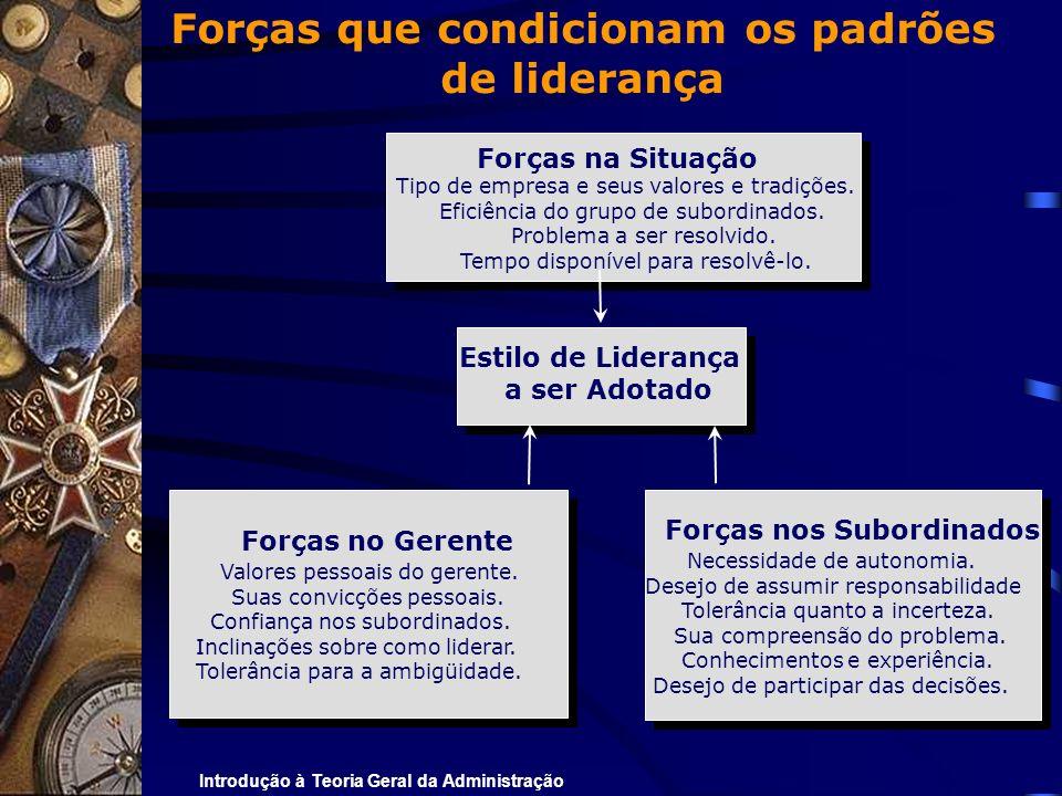 Introdução à Teoria Geral da Administração Forças que condicionam os padrões de liderança Forças na Situação Tipo de empresa e seus valores e tradiçõe