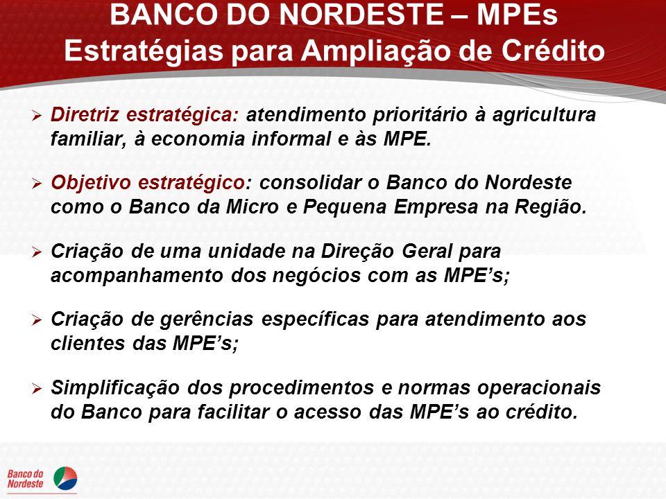 Diretriz estratégica: atendimento prioritário à agricultura familiar, à economia informal e às MPE. Objetivo estratégico: consolidar o Banco do Nordes