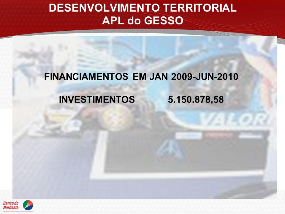 DESENVOLVIMENTO TERRITORIAL APL do GESSO FINANCIAMENTOS EM JAN 2009-JUN-2010 INVESTIMENTOS 5.150.878,58