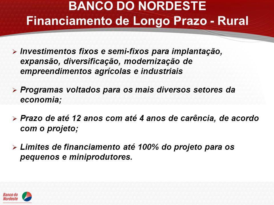 CLASSIFICAÇÃO POR PORTE (Receita Agropecuária Bruta Anual) ENCARGOS TAXAS DE JUROS ANUAL COM BÔNUS DE ADIMPLÊNCIA (1) SEMI-ÁRIDO FORA DO SEMI-ÁRIDO Miniprodutor Até R$ 150 mil 5,00%3,75%4,25% Pequeno produtor De R$ 150 mil até R$ 300 mil 6,75%5,06%5,74% Médio produtor De R$ 300 mil até R$ 1.900 mil 7,25%5,44%6,16% Grande produtor Acima de R$ 1.900 mil 8,50%6,38%7,23% BANCO DO NORDESTE Financiamento de Longo Prazo - Rural (1)Bônus de 25% para empreendimentos localizados no semi-árido e de 15% para empreendimentos fora do semi-árido, concedidos exclusivamente para clientes que realizarem os pagamentos em dia.