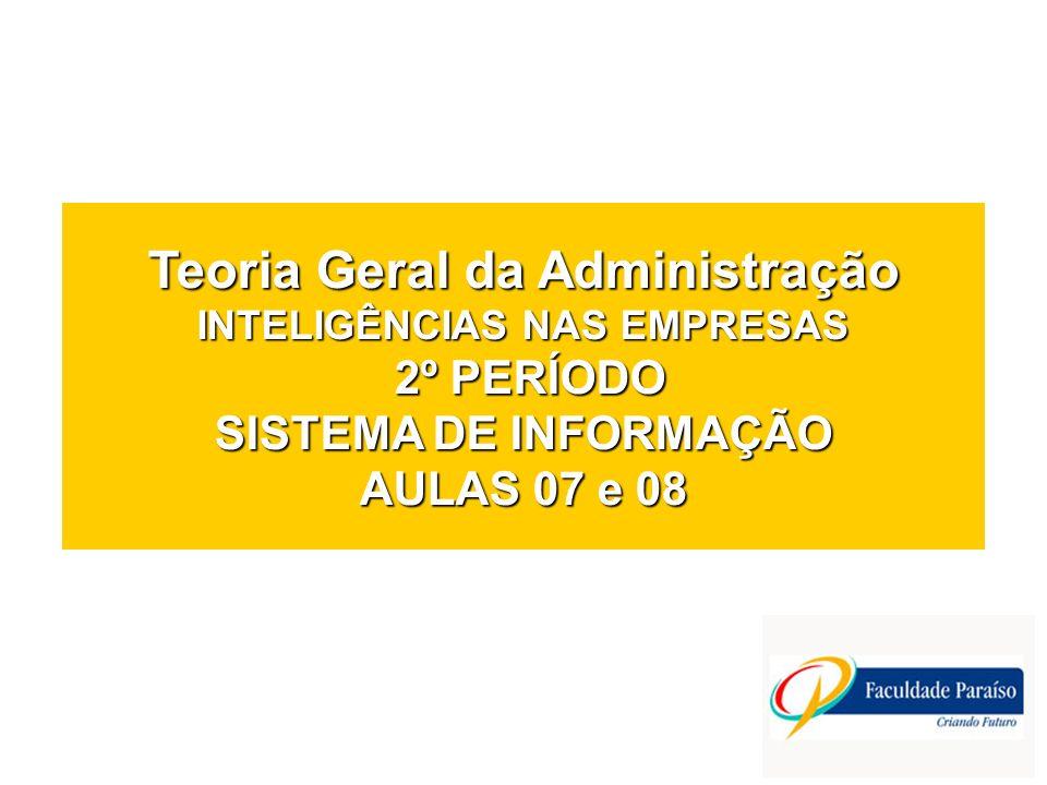 Teoria Geral da Administração INTELIGÊNCIAS NAS EMPRESAS 2º PERÍODO SISTEMA DE INFORMAÇÃO AULAS 07 e 08
