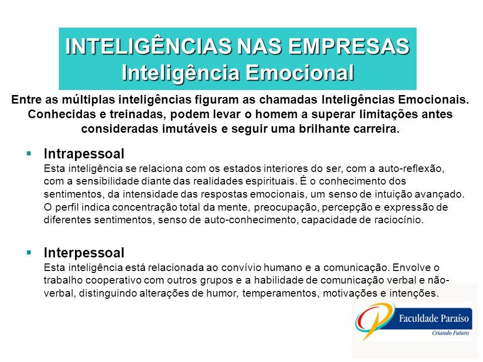 INTELIGÊNCIAS NAS EMPRESAS Inteligência Emocional Entre as múltiplas inteligências figuram as chamadas Inteligências Emocionais. Conhecidas e treinada