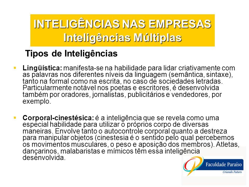 INTELIGÊNCIAS NAS EMPRESAS Inteligências Múltiplas Tipos de Inteligências Lingüística: manifesta-se na habilidade para lidar criativamente com as pala