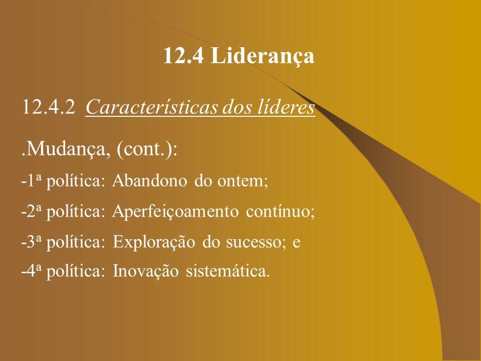 12.4 Liderança 12.4.2 Características dos líderes.Características da pessoa-líder, (cont.): -Pesquisa e Mapeamento: do estágio atual da empresa e como fazer para alcançar o ponto almejado por ela, analisando os prós e contras;