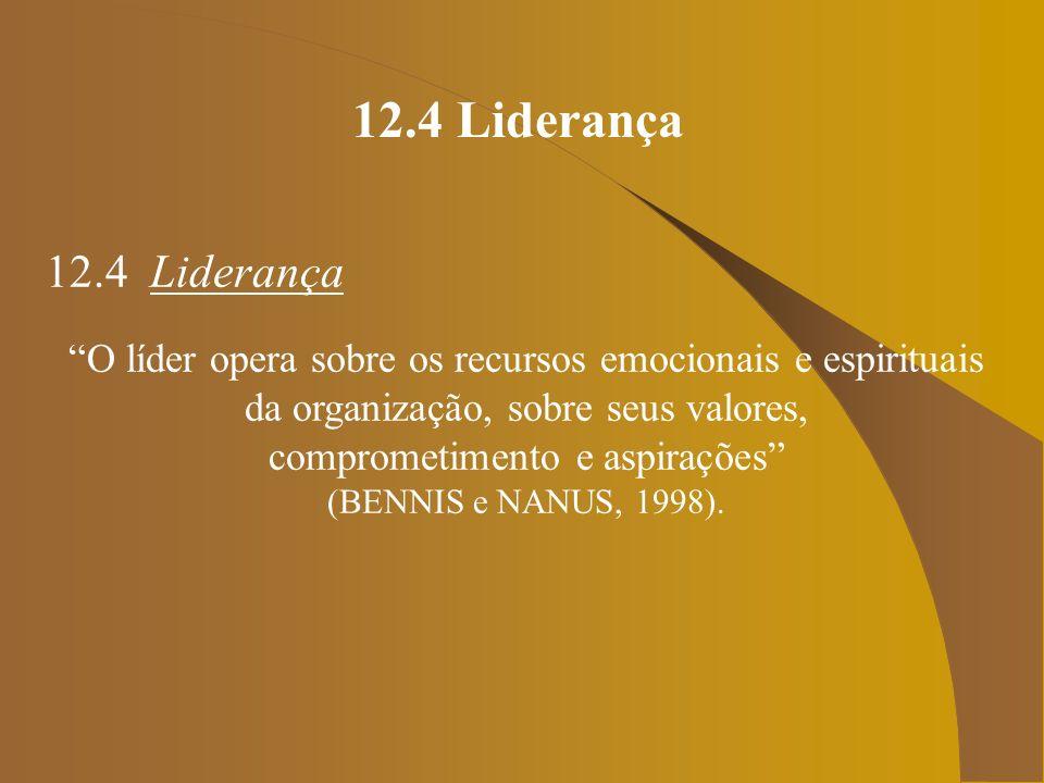 12.4 Liderança 12.4 Liderança Em contraste, o gestor opera sobre os recursos físicos da organização, sobre seu capital, habilidades humanas, matérias-primas e tecnologia (BENNIS e NANUS, 1998).