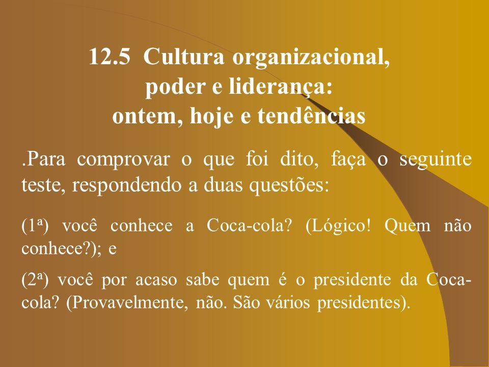 12.5 Cultura organizacional, poder e liderança: ontem, hoje e tendências.Esta é a questão.