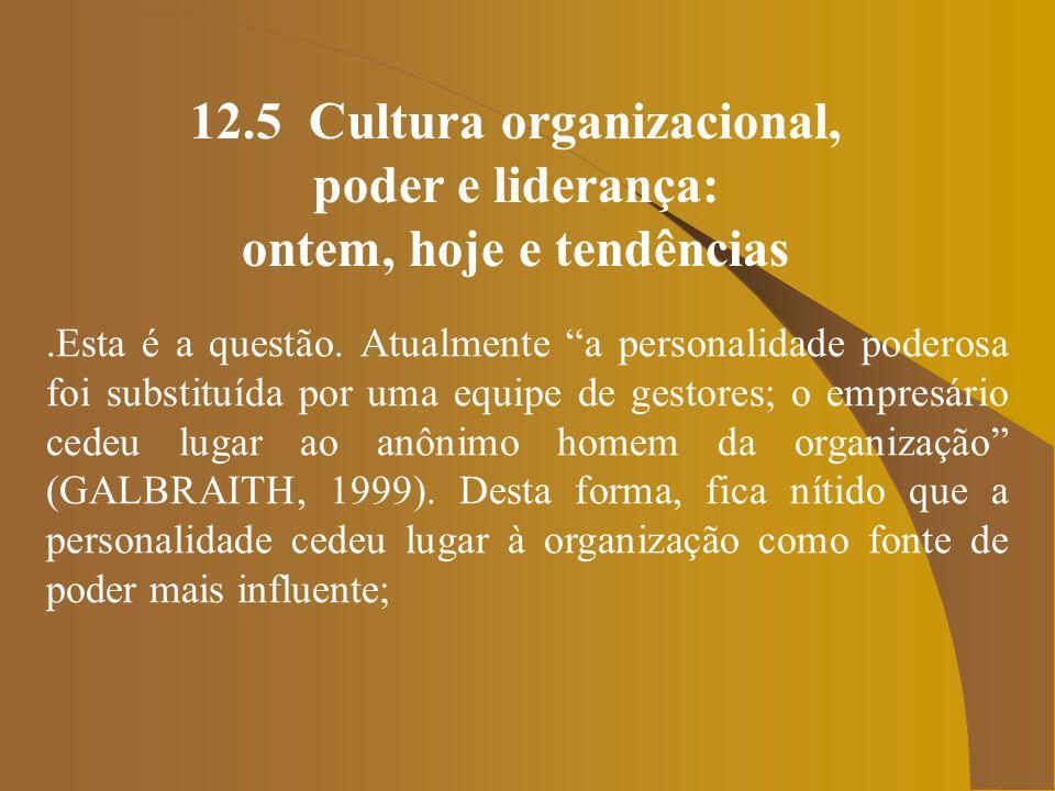 12.5 Cultura organizacional, poder e liderança: ontem, hoje e tendências.Similarmente, a propriedade também vem perdendo o seu lugar de prestígio no mundo de hoje.