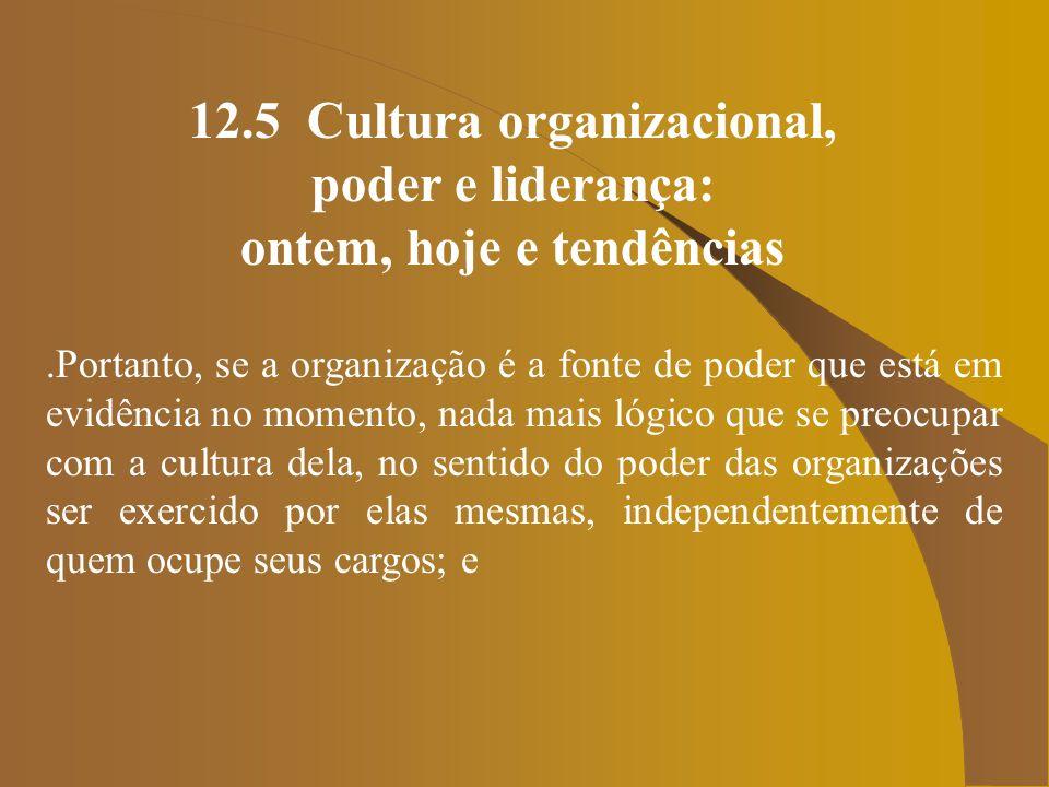12.5 Cultura organizacional, poder e liderança: ontem, hoje e tendências.É neste contexto que temos o líder do futuro, segundo Bennis (1996), alguém capaz de criar disposição social conducente à geração do capital intelectual: idéias e know- how, além de inspirar confiança e manter acessa a esperança.