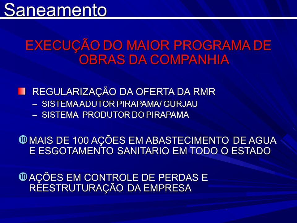 Saneamento EXECUÇÃO DO MAIOR PROGRAMA DE OBRAS DA COMPANHIA REGULARIZAÇÃO DA OFERTA DA RMR REGULARIZAÇÃO DA OFERTA DA RMR –SISTEMA ADUTOR PIRAPAMA/ GU