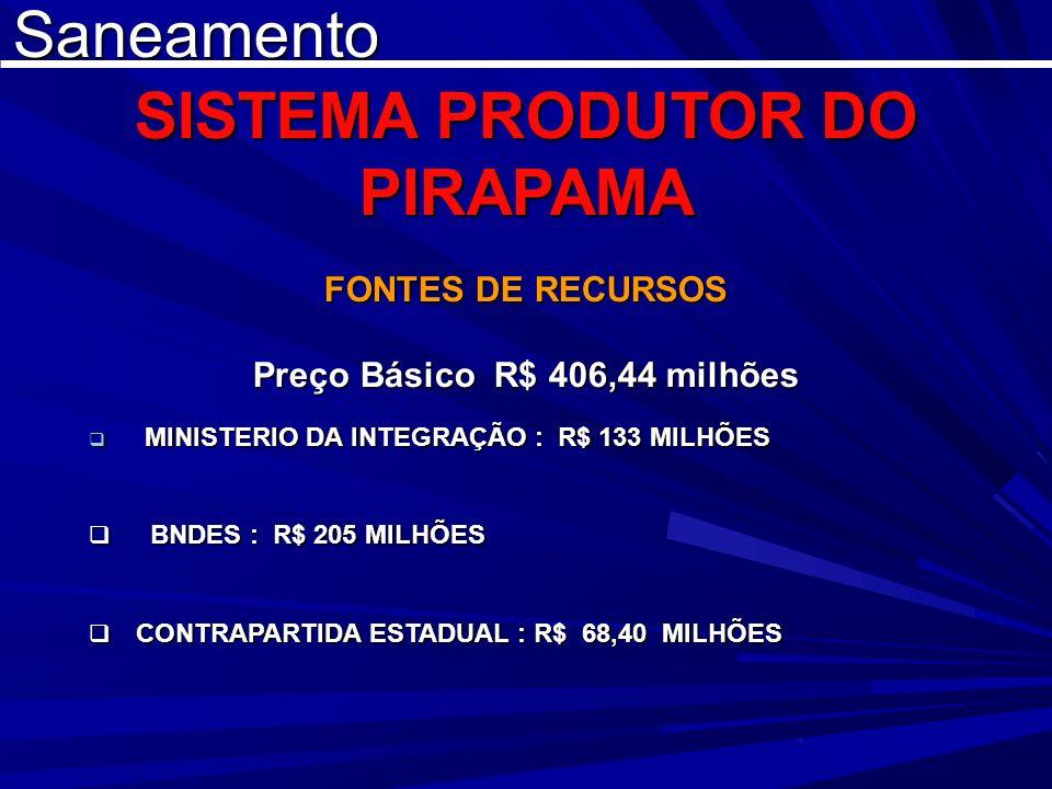 Saneamento SISTEMA PRODUTOR DO PIRAPAMA FONTES DE RECURSOS Preço Básico R$ 406,44 milhões MINISTERIO DA INTEGRAÇÃO : R$ 133 MILHÕES MINISTERIO DA INTE
