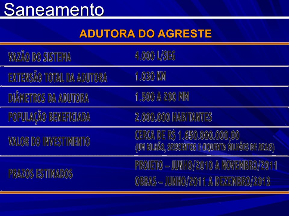 Saneamento ADUTORA DO AGRESTE ADUTORA DO AGRESTE