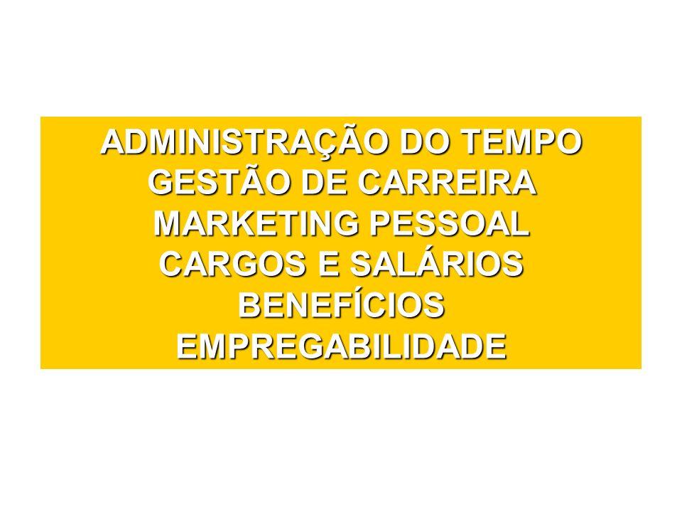 ADMINISTRAÇÃO DO TEMPO GESTÃO DE CARREIRA MARKETING PESSOAL CARGOS E SALÁRIOS BENEFÍCIOS EMPREGABILIDADE