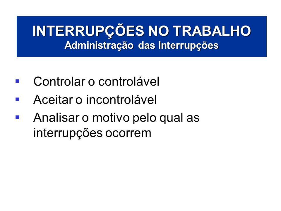 INTERRUPÇÕES NO TRABALHO Administração das Interrupções Controlar o controlável Aceitar o incontrolável Analisar o motivo pelo qual as interrupções oc
