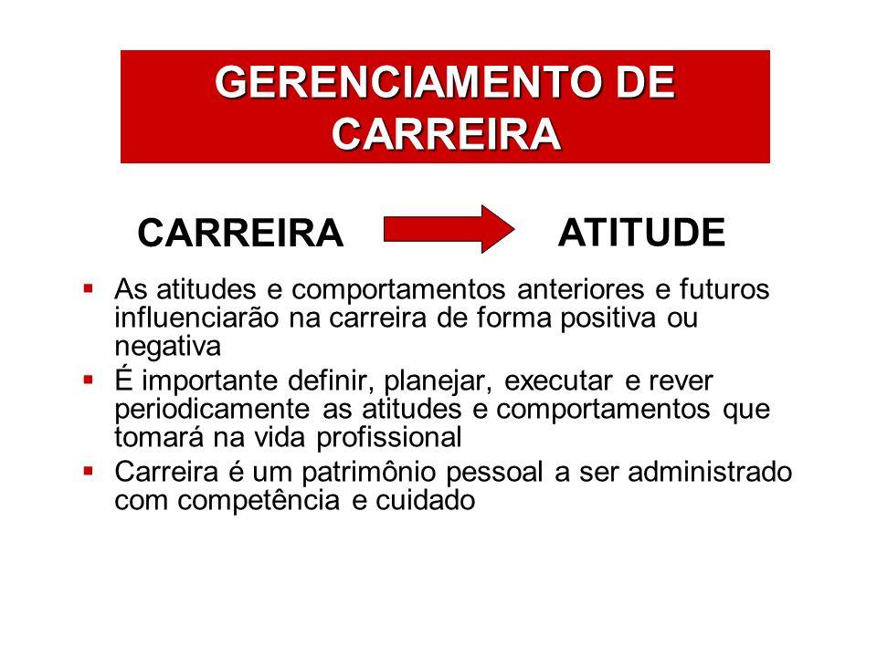 ÁREAS DE ATUAÇÃO As atitudes e comportamentos anteriores e futuros influenciarão na carreira de forma positiva ou negativa É importante definir, plane