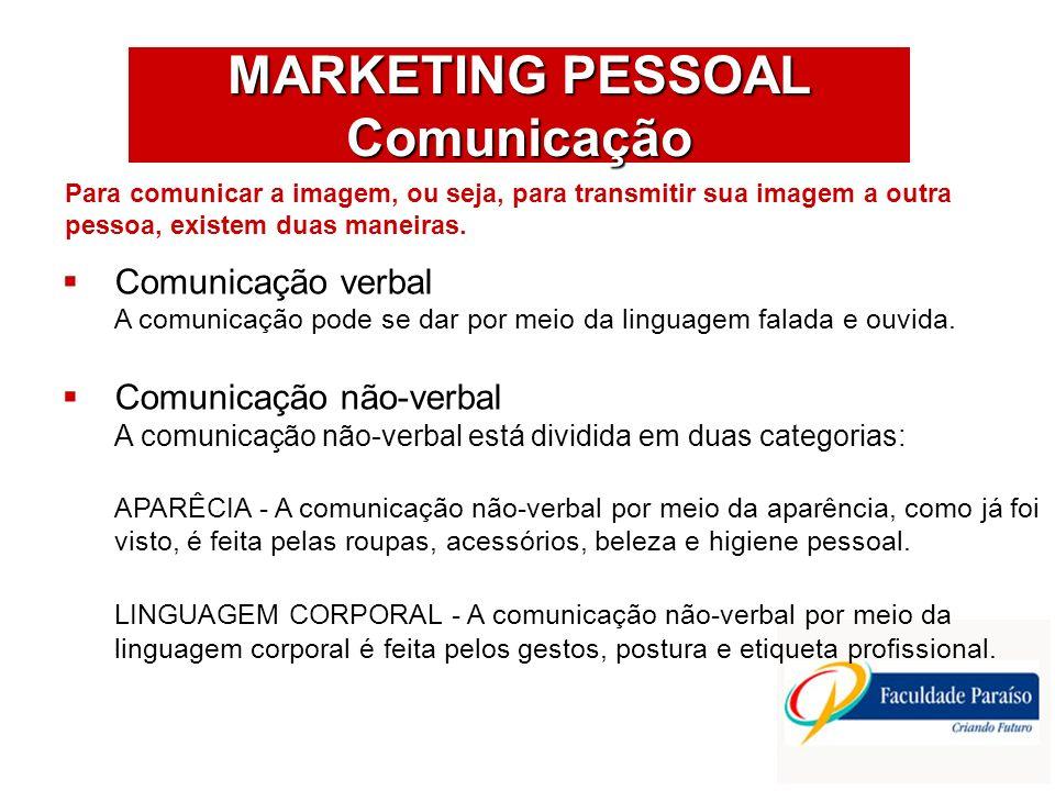 MARKETING PESSOAL Comunicação Comunicação verbal A comunicação pode se dar por meio da linguagem falada e ouvida. Comunicação não-verbal A comunicação