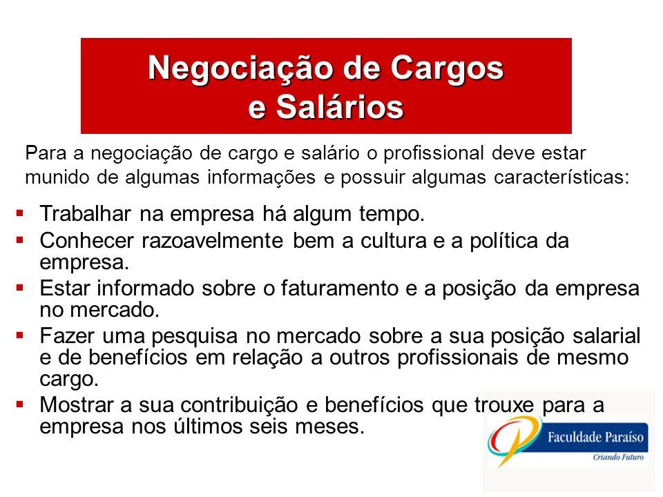 Negociação de Cargos e Salários Trabalhar na empresa há algum tempo. Conhecer razoavelmente bem a cultura e a política da empresa. Estar informado sob