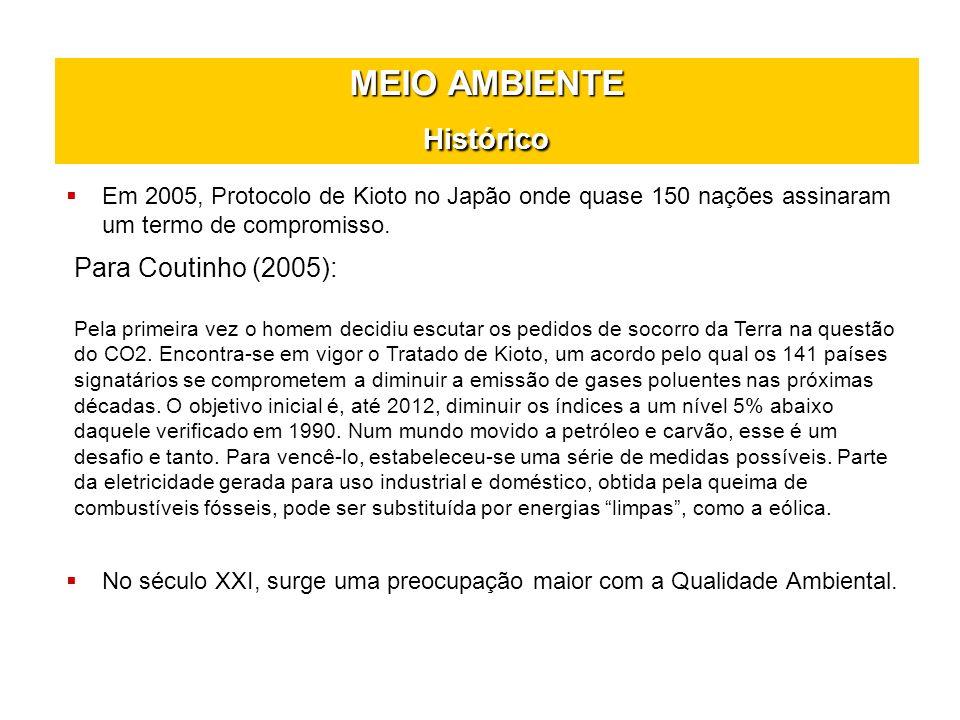 MEIO AMBIENTE Histórico Em 2005, Protocolo de Kioto no Japão onde quase 150 nações assinaram um termo de compromisso. Para Coutinho (2005): Pela prime