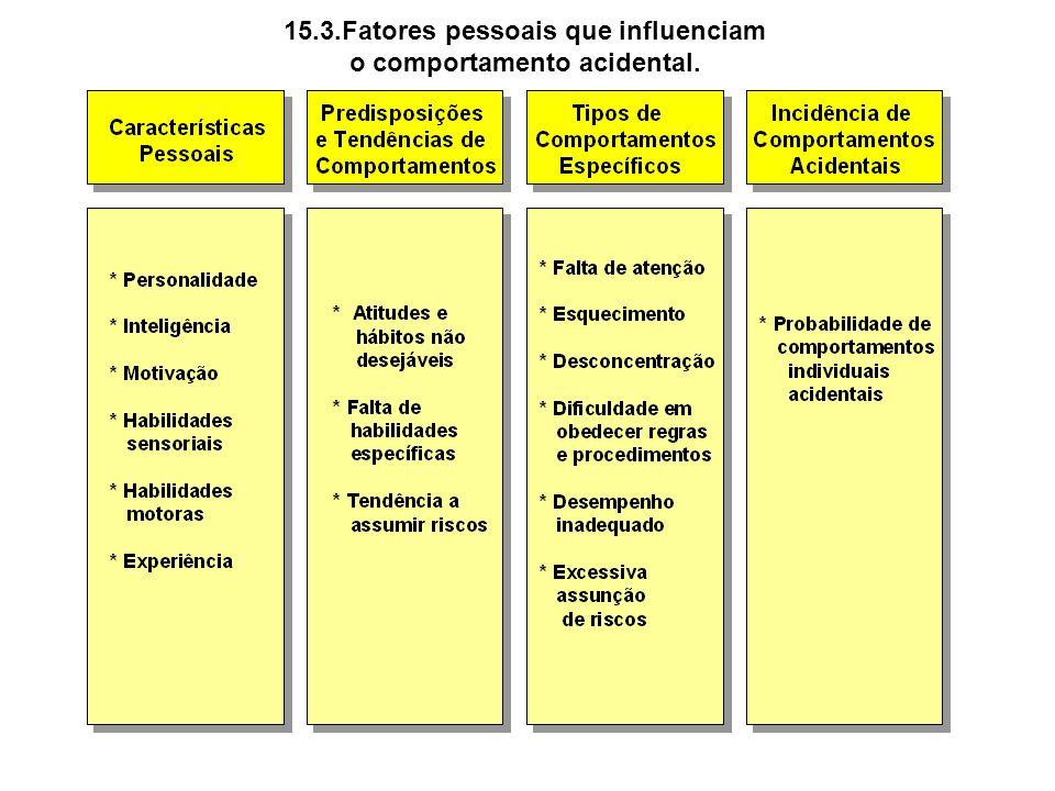 15.3.Fatores pessoais que influenciam o comportamento acidental.