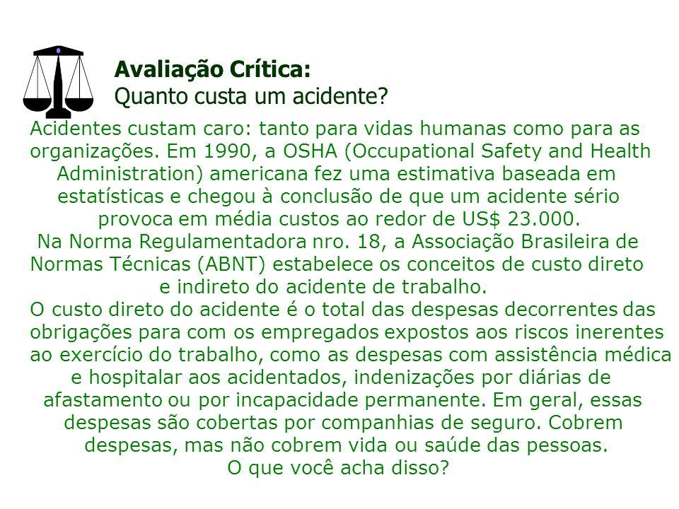 Avaliação Crítica: Quanto custa um acidente.
