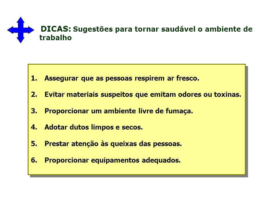 DICAS: Sugestões para tornar saudável o ambiente de trabalho 1.Assegurar que as pessoas respirem ar fresco.