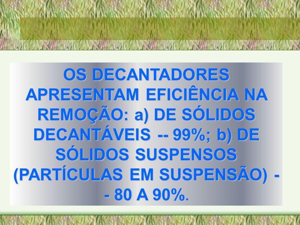 OS DECANTADORES APRESENTAM EFICIÊNCIA NA REMOÇÃO: a) DE SÓLIDOS DECANTÁVEIS -- 99%; b) DE SÓLIDOS SUSPENSOS (PARTÍCULAS EM SUSPENSÃO) - - 80 A 90%.