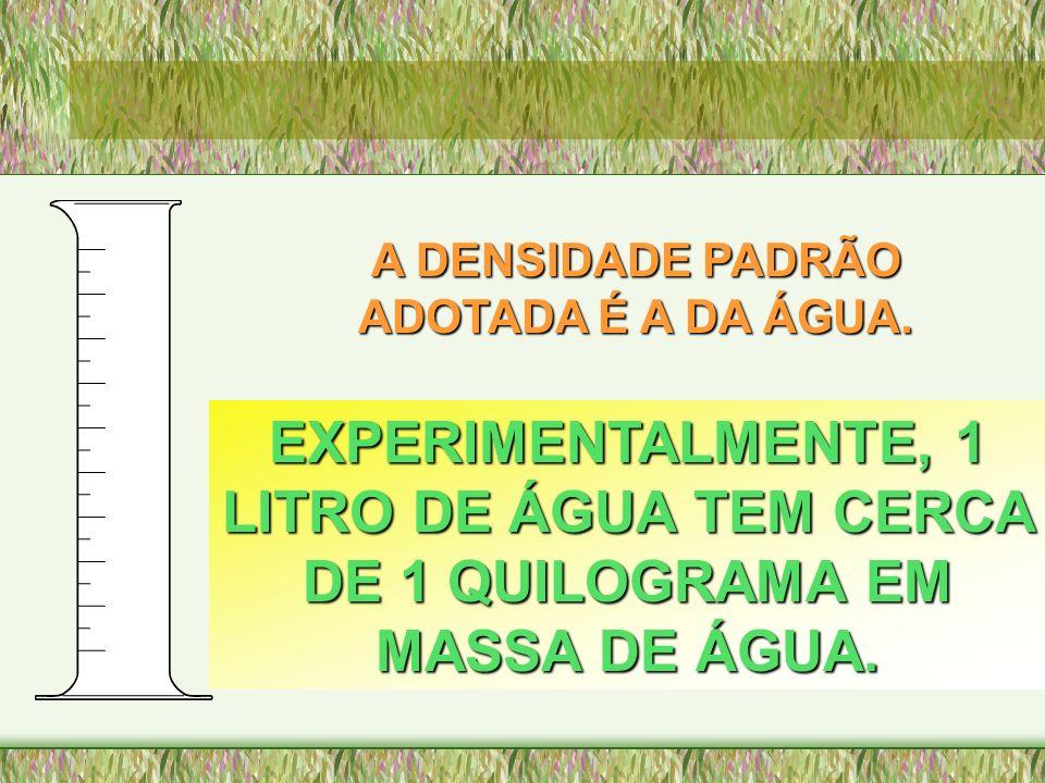 A DENSIDADE PADRÃO ADOTADA É A DA ÁGUA. EXPERIMENTALMENTE, 1 LITRO DE ÁGUA TEM CERCA DE 1 QUILOGRAMA EM MASSA DE ÁGUA.