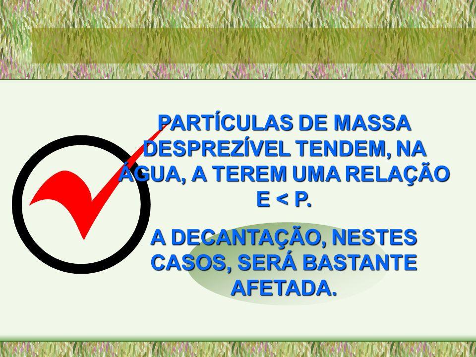 PARTÍCULAS DE MASSA DESPREZÍVEL TENDEM, NA ÁGUA, A TEREM UMA RELAÇÃO E < P. A DECANTAÇÃO, NESTES CASOS, SERÁ BASTANTE AFETADA.