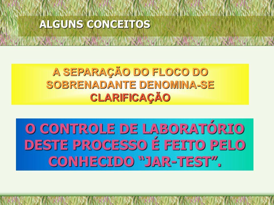 ALGUNS CONCEITOS A SEPARAÇÃO DO FLOCO DO SOBRENADANTE DENOMINA-SE CLARIFICAÇÃO O CONTROLE DE LABORATÓRIO DESTE PROCESSO É FEITO PELO CONHECIDO JAR-TES