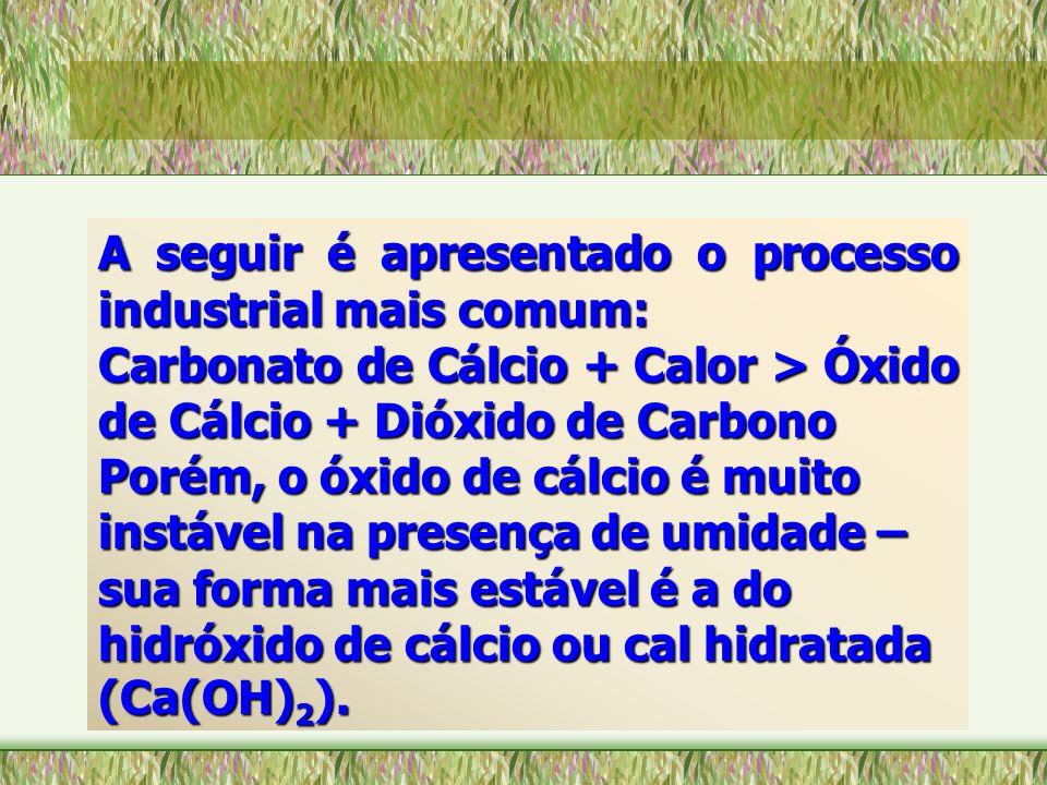 A seguir é apresentado o processo industrial mais comum: Carbonato de Cálcio + Calor > Óxido de Cálcio + Dióxido de Carbono Porém, o óxido de cálcio é