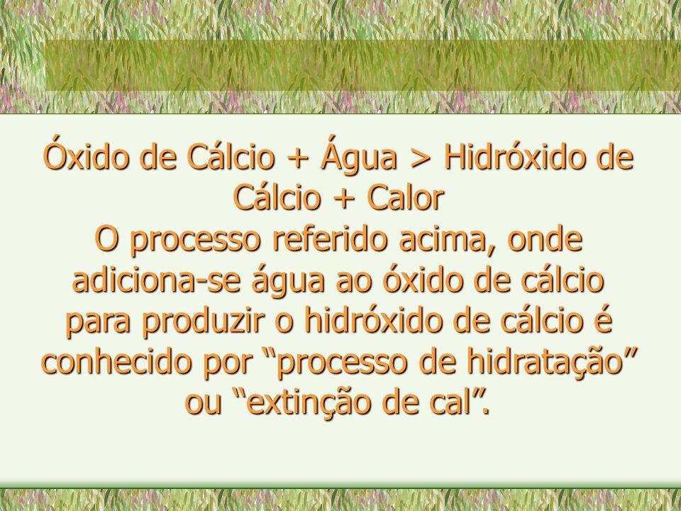 Óxido de Cálcio + Água > Hidróxido de Cálcio + Calor O processo referido acima, onde adiciona-se água ao óxido de cálcio para produzir o hidróxido de