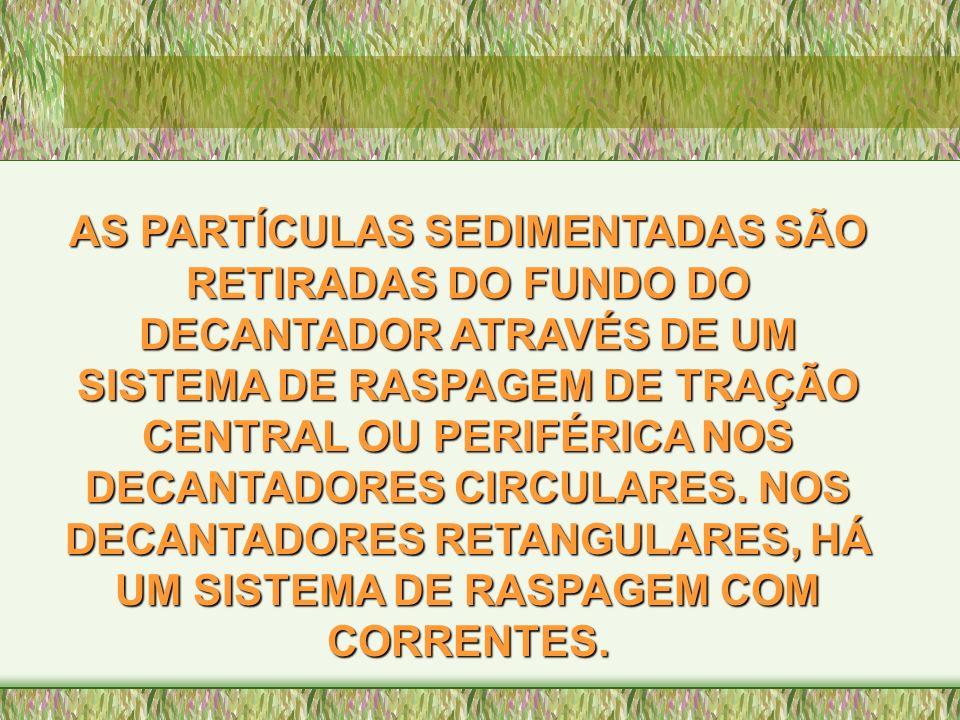 AS PARTÍCULAS SEDIMENTADAS SÃO RETIRADAS DO FUNDO DO DECANTADOR ATRAVÉS DE UM SISTEMA DE RASPAGEM DE TRAÇÃO CENTRAL OU PERIFÉRICA NOS DECANTADORES CIR