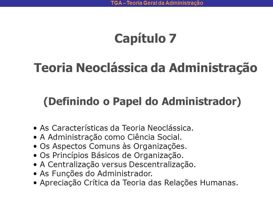TGA –Teoria Geral da Administração Capítulo 7 Teoria Neoclássica da Administração (Definindo o Papel do Administrador) As Características da Teoria Ne