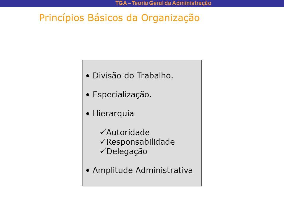 TGA –Teoria Geral da Administração Princípios Básicos da Organização Divisão do Trabalho. Especialização. Hierarquia Autoridade Responsabilidade Deleg