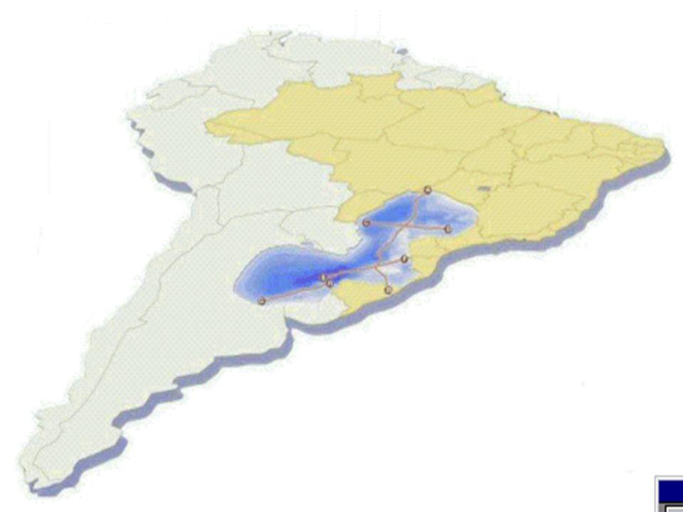 AQÜÍFERO GUARANI O Aqüífero Guarani é talvez o maior manancial de água doce subterrânea transfronteiriço do mundo, estendendo-se desde a Bacia Sedimen