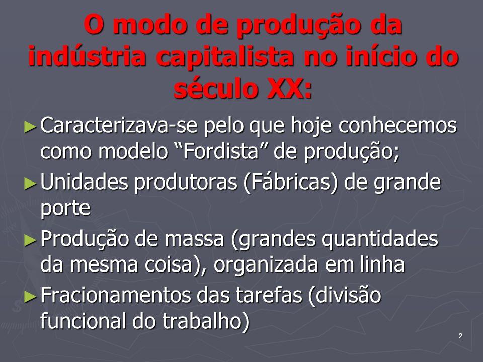 2 O modo de produção da indústria capitalista no início do século XX: Caracterizava-se pelo que hoje conhecemos como modelo Fordista de produção; Caracterizava-se pelo que hoje conhecemos como modelo Fordista de produção; Unidades produtoras (Fábricas) de grande porte Unidades produtoras (Fábricas) de grande porte Produção de massa (grandes quantidades da mesma coisa), organizada em linha Produção de massa (grandes quantidades da mesma coisa), organizada em linha Fracionamentos das tarefas (divisão funcional do trabalho) Fracionamentos das tarefas (divisão funcional do trabalho)