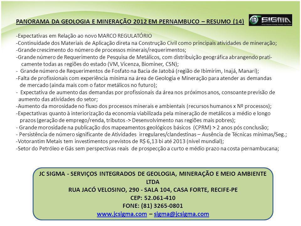JC SIGMA - SERVIÇOS INTEGRADOS DE GEOLOGIA, MINERAÇÃO E MEIO AMBIENTE LTDA RUA JACÓ VELOSINO, 290 - SALA 104, CASA FORTE, RECIFE-PE CEP: 52.061-410 FO