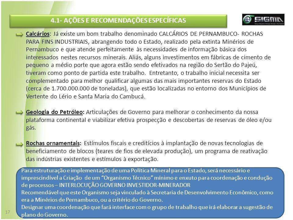 Calcários: Já existe um bom trabalho denominado CALCÁRIOS DE PERNAMBUCO- ROCHAS PARA FINS INDUSTRIAIS, abrangendo todo o Estado, realizado pela extint