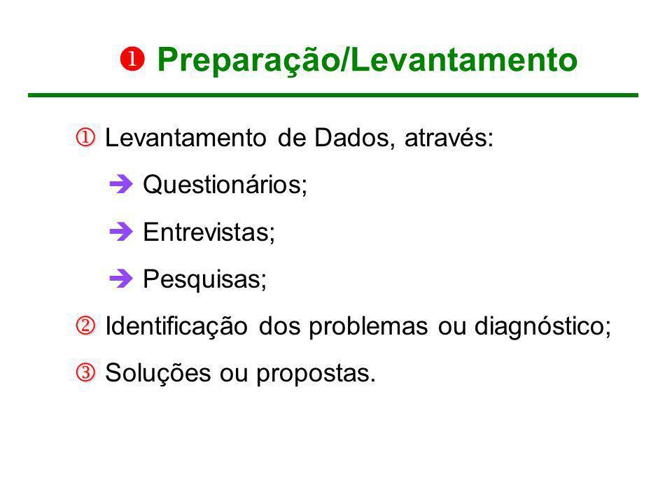 Preparação/Levantamento Levantamento de Dados, através: Questionários; Entrevistas; Pesquisas; Identificação dos problemas ou diagnóstico; Soluções ou
