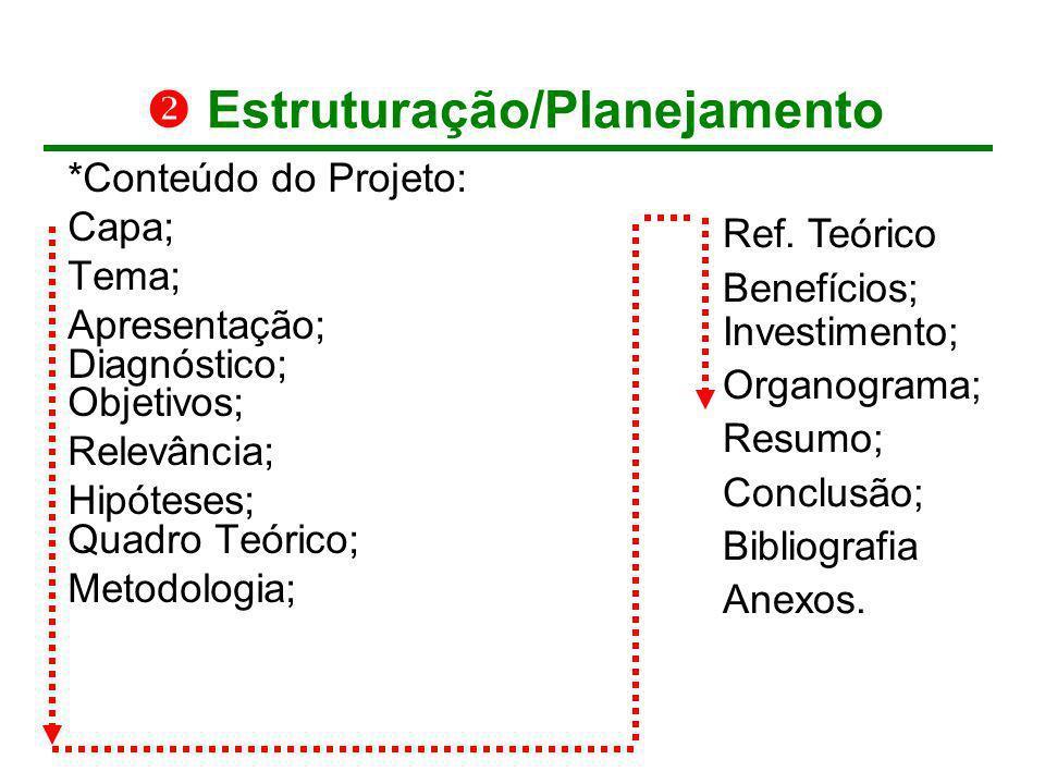 Estruturação/Planejamento *Conteúdo do Projeto: Capa; Tema; Apresentação; Diagnóstico; Objetivos; Relevância; Hipóteses; Quadro Teórico; Metodologia;