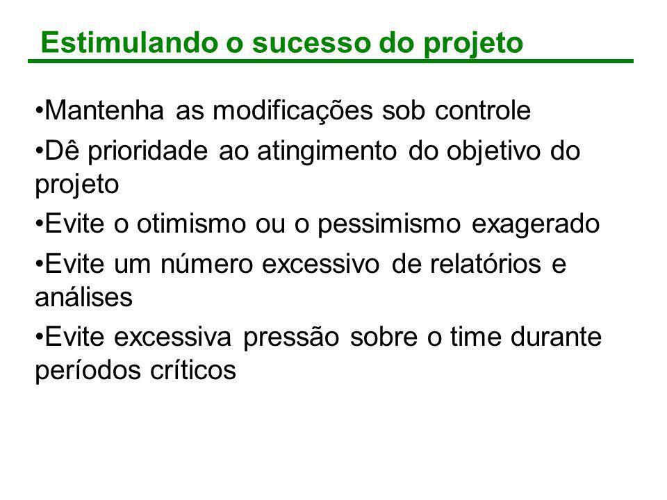 Estimulando o sucesso do projeto Mantenha as modificações sob controle Dê prioridade ao atingimento do objetivo do projeto Evite o otimismo ou o pessi
