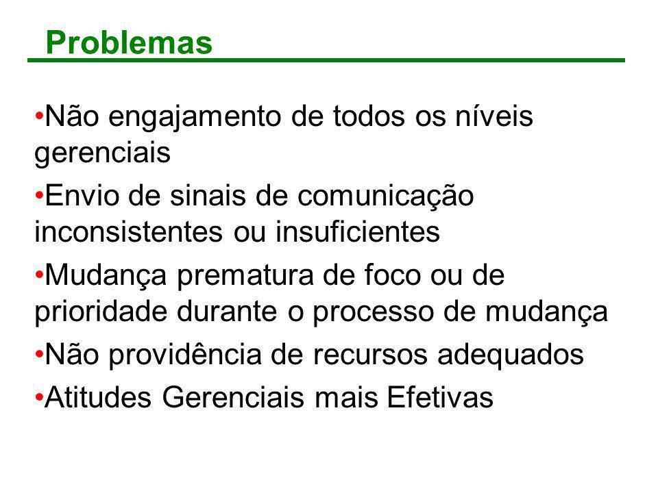 Problemas Não engajamento de todos os níveis gerenciais Envio de sinais de comunicação inconsistentes ou insuficientes Mudança prematura de foco ou de
