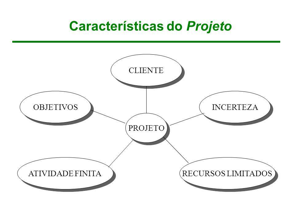 Características do Projeto OBJETIVOS INCERTEZA RECURSOS LIMITADOS PROJETO CLIENTE ATIVIDADE FINITA