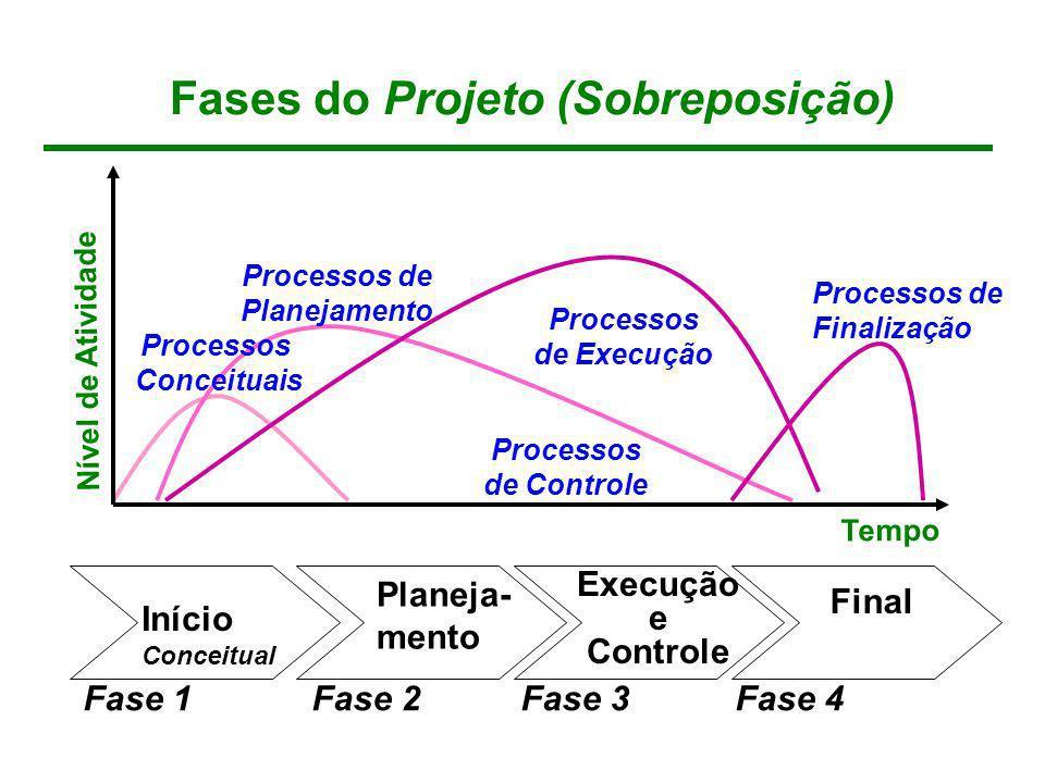Fases do Projeto (Sobreposição) Processos Conceituais Processos de Planejamento Processos de Controle Processos de Execução Processos de Finalização N