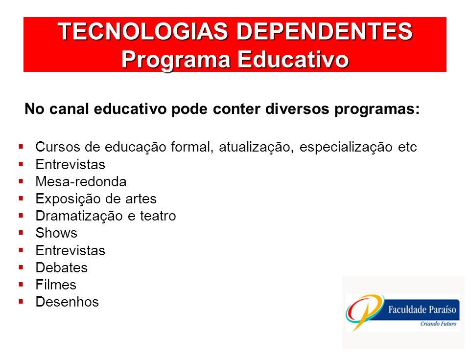 TECNOLOGIAS DEPENDENTES Programa Educativo No canal educativo pode conter diversos programas: Cursos de educação formal, atualização, especialização e