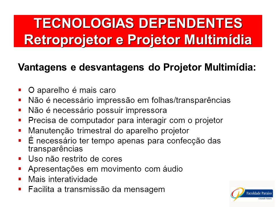 TECNOLOGIAS DEPENDENTES Retroprojetor e Projetor Multimídia Vantagens e desvantagens do Projetor Multimídia: O aparelho é mais caro Não é necessário i