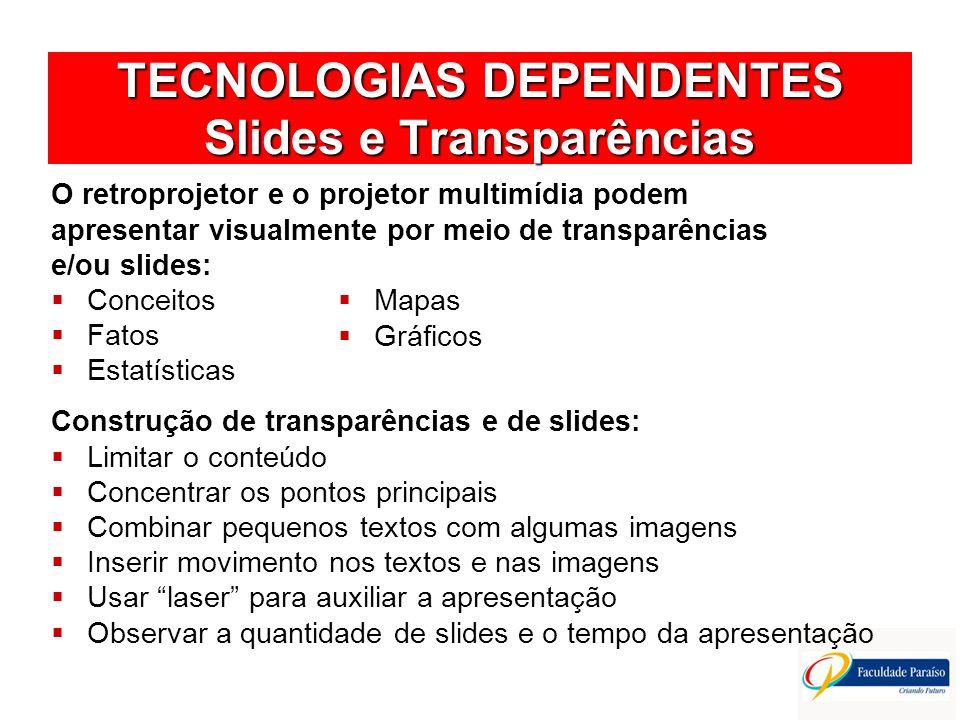 TECNOLOGIAS DEPENDENTES Slides e Transparências O retroprojetor e o projetor multimídia podem apresentar visualmente por meio de transparências e/ou s