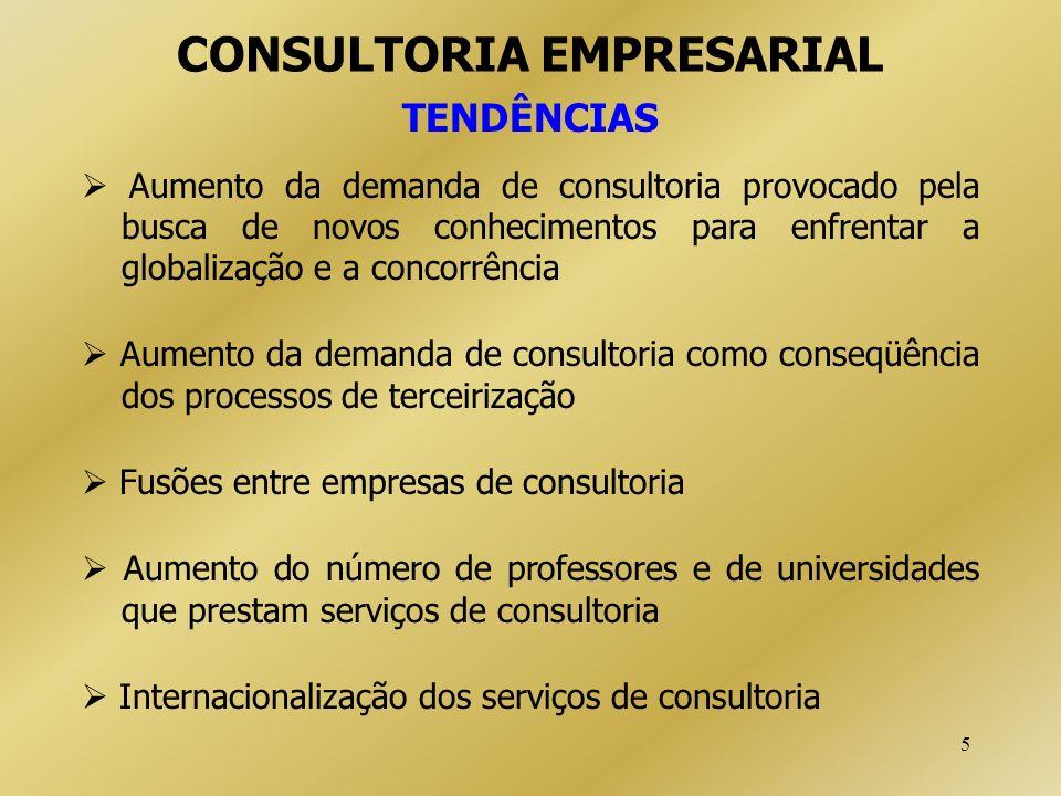 5 CONSULTORIA EMPRESARIAL TENDÊNCIAS Aumento da demanda de consultoria provocado pela busca de novos conhecimentos para enfrentar a globalização e a c